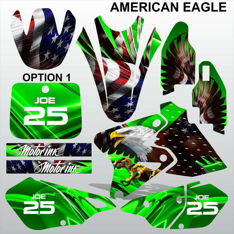 Kawasaki KLX 400 AMERICAN EAGLE motocross decals racing set MX graphics stripe