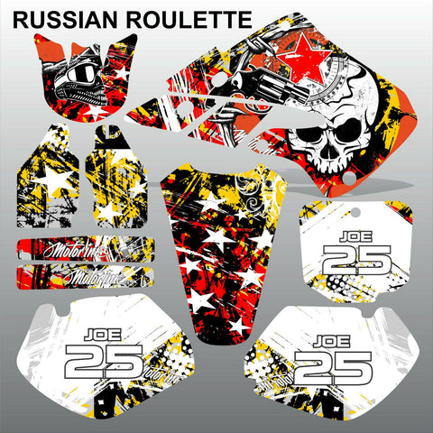 Honda CR125 CR250 1998 1999 RUSSIAN ROULLETE motocross decals set MX graphics