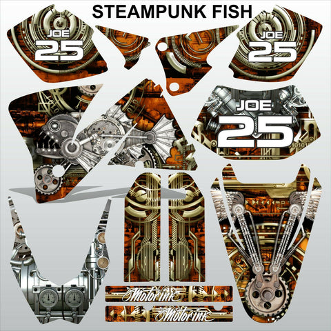 KTM EXC 2001-2002 STEAMPUNK FISH motocross decals stripes racing MX graphics