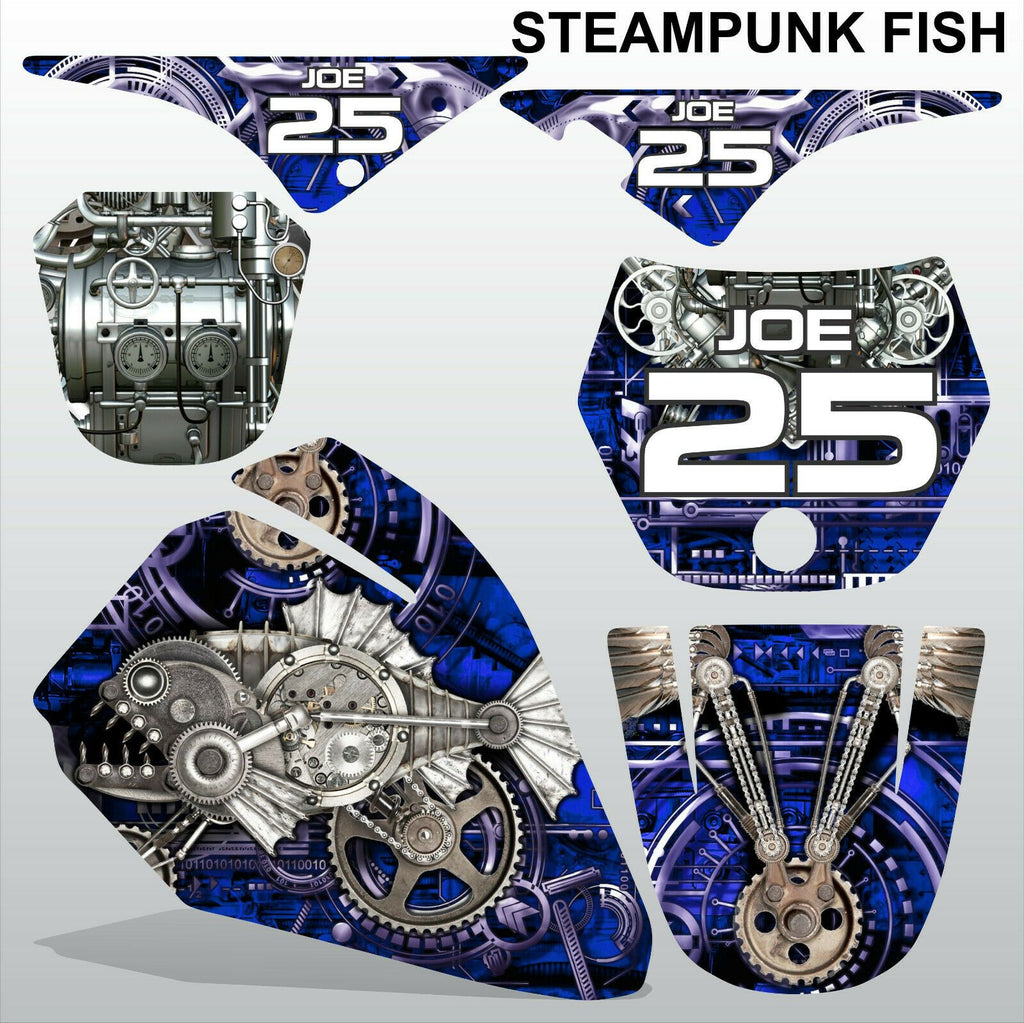 Yamaha PW80 STEAMPUNK FISH motocross racing decals set MX graphics stripe kit