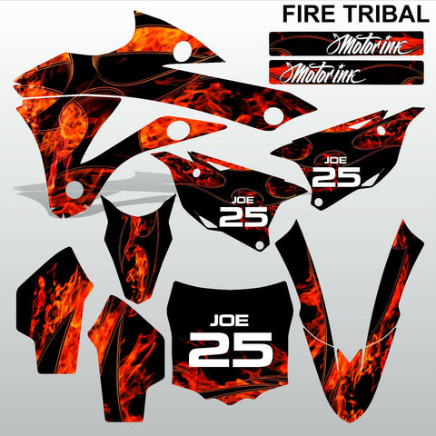 Kawasaki KX 85-100 2014-2015 FIRE TRIBAL motocross decals set MX graphics kit