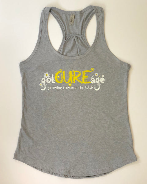 """Crazy Daisy"" Racer Back Tank- Light Gray"