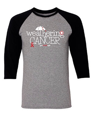 """Weathering Cancer"" 3/4 Raglan Tee- Benefiting Crystal Harper's LLS Woman of the Year Campaign"