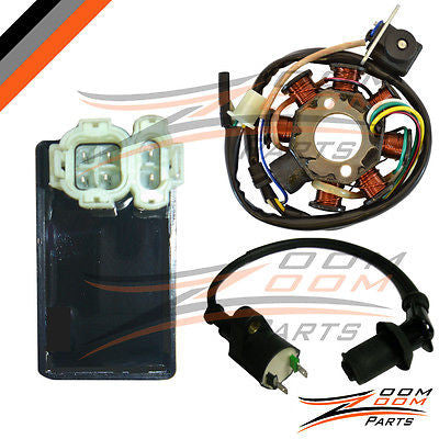 GY6 50 8 Pole Magneto Stator Coil Ignition Coil CDI Box 50cc Stock ATV Go Kart