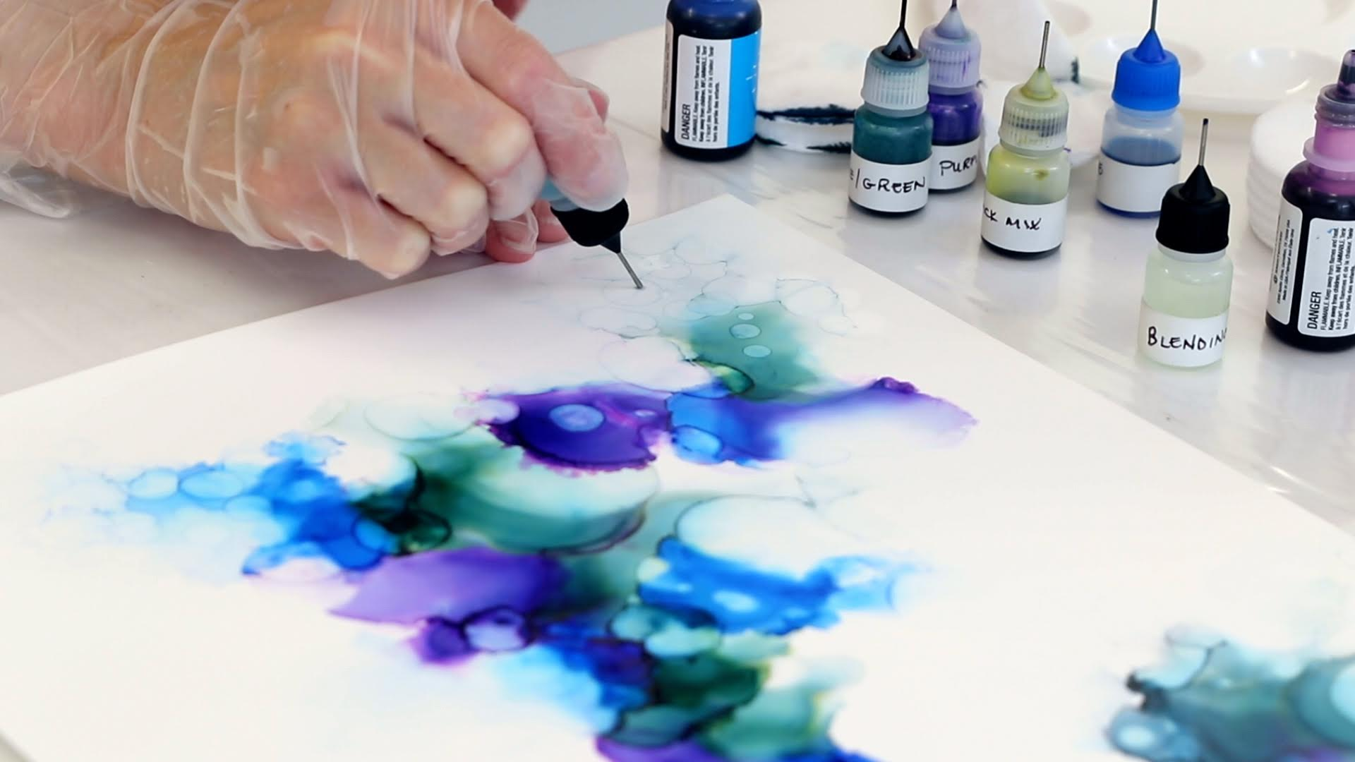 soften edges of alcohol ink with isopropyl alcohol