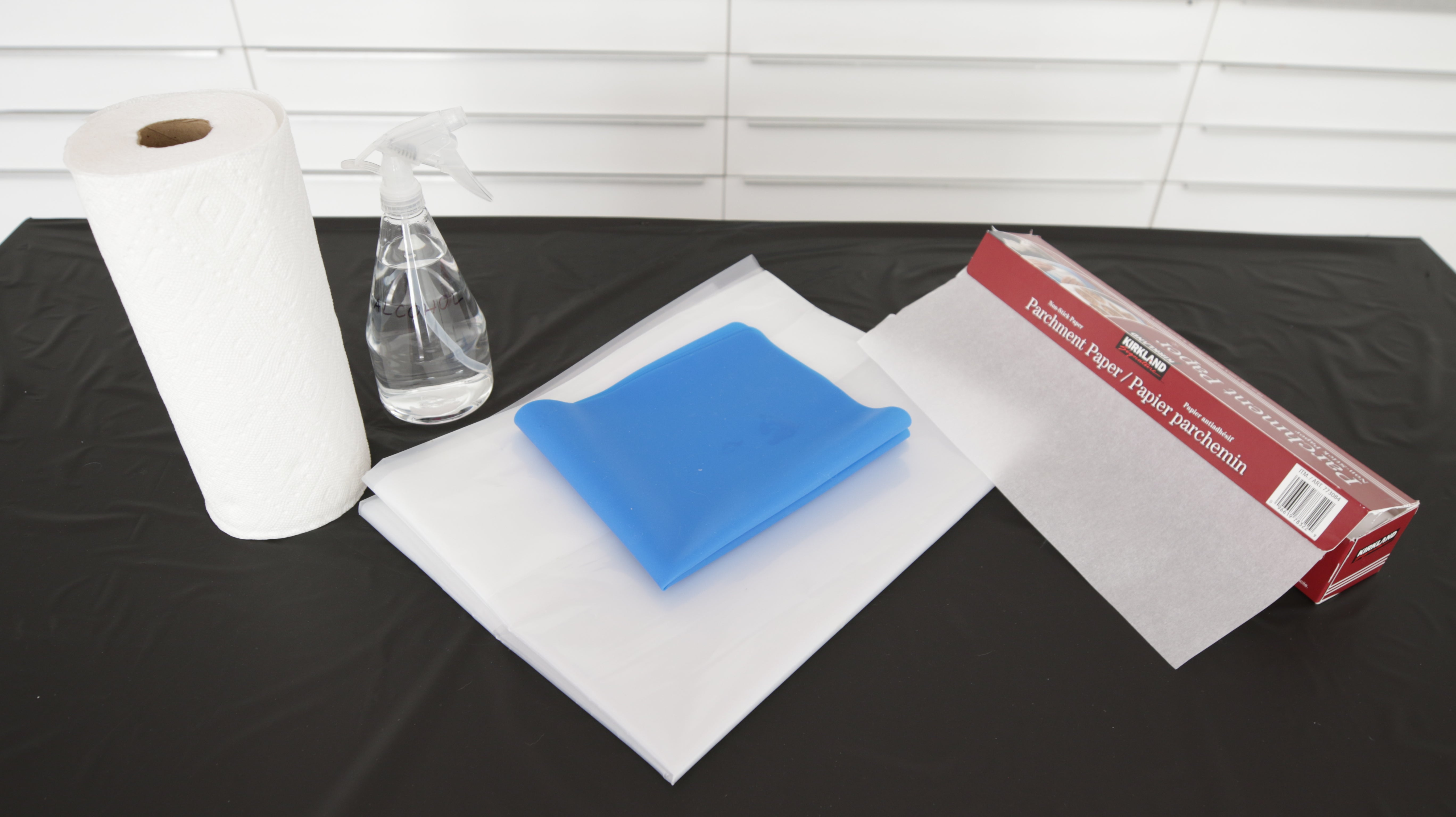 line your work surface with plastic, a silicone mat or parchment