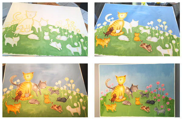 4 progress shots of how to make a painting for a kid's room