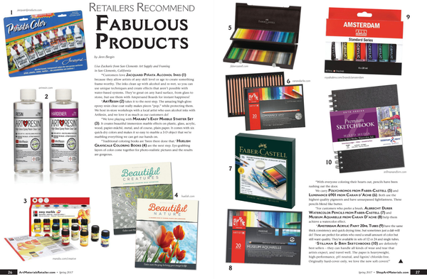 Art Materials Retailer magazine Fabulous Products