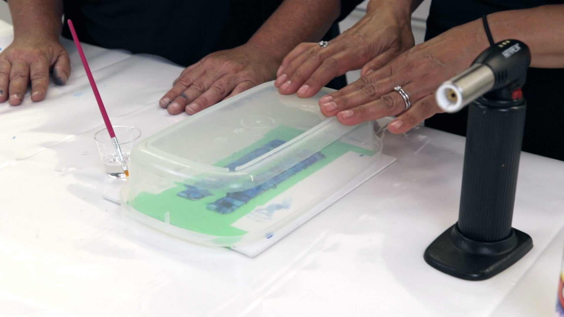 let resin cure under a dust cover