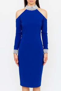 Genese London Crystal Collar Dress, Cobalt