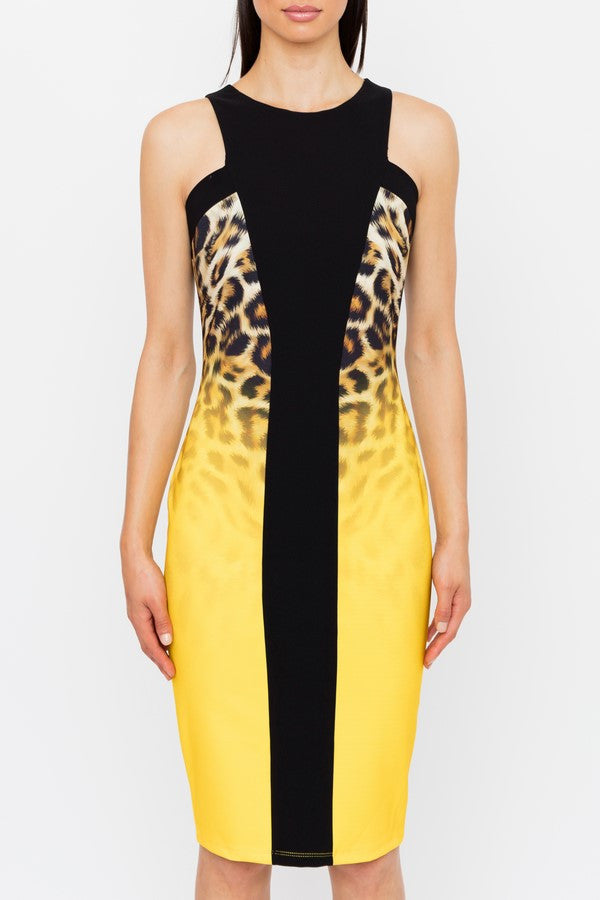 Genese London Leopard Print Crepe Pencil Dress, Sahara