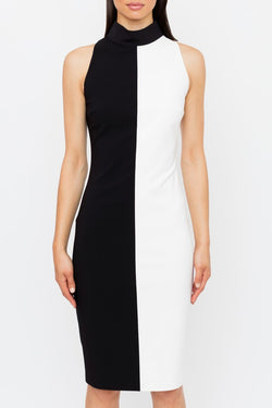 Genese London Block Pannel Dress, Black/White