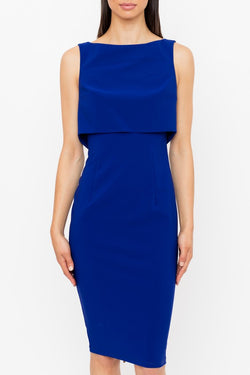 Genese London Sheer Mesh Back Pannel Dress, Cobalt