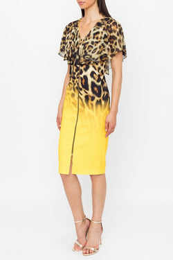 Genese London Leopard Print Chiffon Shoulder Cape Dress, Sahara