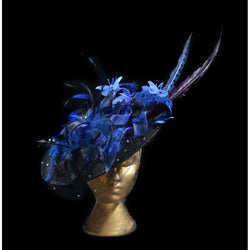 black and blue headpiece, midnight blue, blue feathers, butterflies