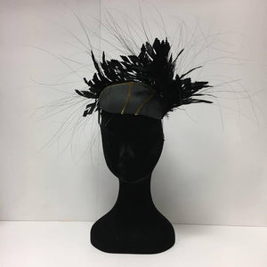 Black gold and green, headpiece, fascinator, greek