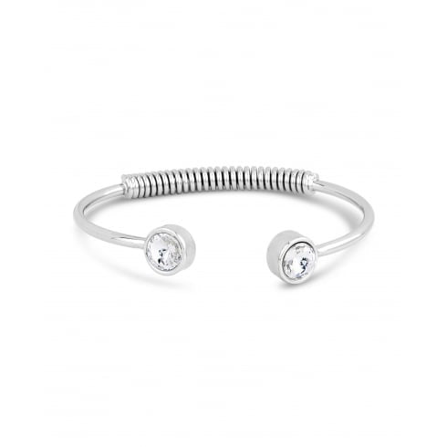Park Lane Trendy Silver Rhodium Plated Cuff Spring Back Bracelet with Crystal Rub Over Stone