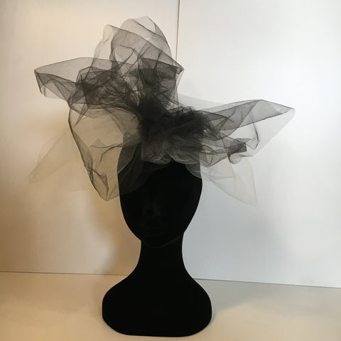 headpiece, bespoke, white, black, netting, unique, royal ascot