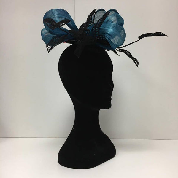 Blue and black fascinator, hat, black, blue, velvet