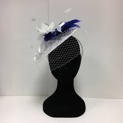 white and blue fascinator, headpiece, hat, white, blue