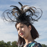 fascinator, headpiece, feathers, ladies day, ascot, hats, elegant