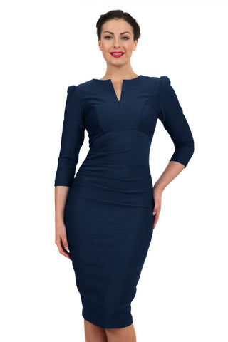 Diva 3/4 Sleeved Fitzroviad Dress, Coutrue Stretch, Navy Blue