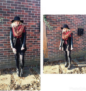 All Black, Red Scarf