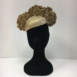 fascinator, headpiece, feathers, ladies day, ascot, hats, elegant, gold fascinator, beautiful
