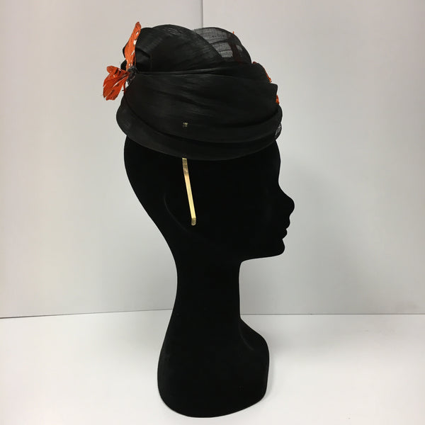 black fascinator, black and orange, headpiece, orange butterflies