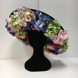 black base, headpiece, hat, flowers, multicoloured, statement