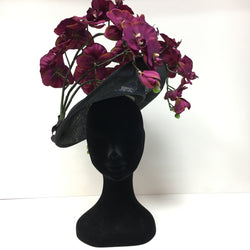 black and purple headpiece, purple flowers, hat, headpiece, royal ascot