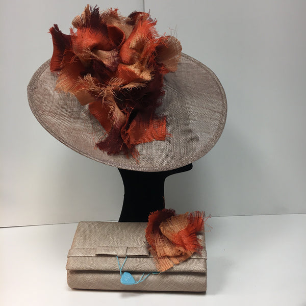 peach headpiece, disc, orange, matching bag, fascinator
