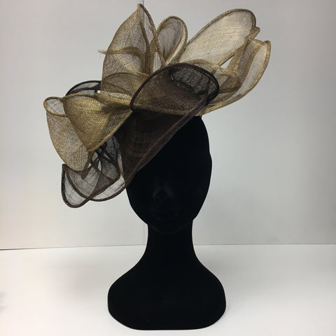 brown headpiece, two tone brown, hat, fascinator, ascot