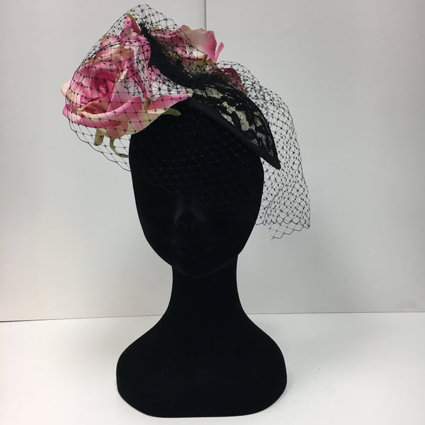 pink and black headpiece, pink flowers, netting, lace, flowers, fascinator,