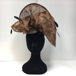 hat, fascinator, brown, orange, leopard print, black feathers, hat
