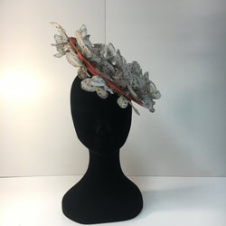 coral headpiece, butterflies, fascinator, white, cream, ivory, disc