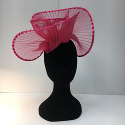 pink headpiece, hat, bespoke, fascinator, hot pink