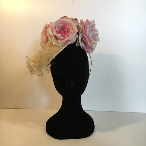 fascinator, headpiece, pink flowers, ivory base, simplistic
