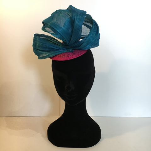 pink and blue headpiece, contrast, fascinator, headpiece, unique