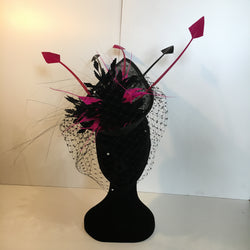 black and pink headpiece, pink feathers, black feathers, netting, lace, feathers, punk