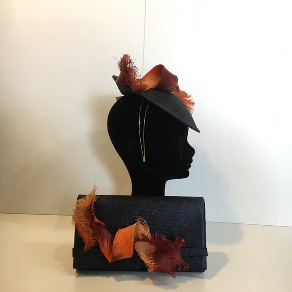 navy and orange headpiece, disc, fascinator, matching bag, orange swirl