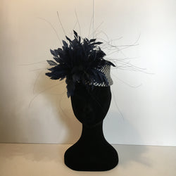 Navy and white, navy feathers, navy headpiece, navy hat