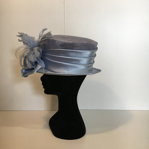 baby blue hat, pastel blue hat, hat, feather, bow, elegant