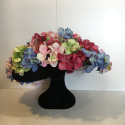 statement piece, hat, flowers, mulitcoloured, pink, green, purple, green, blue