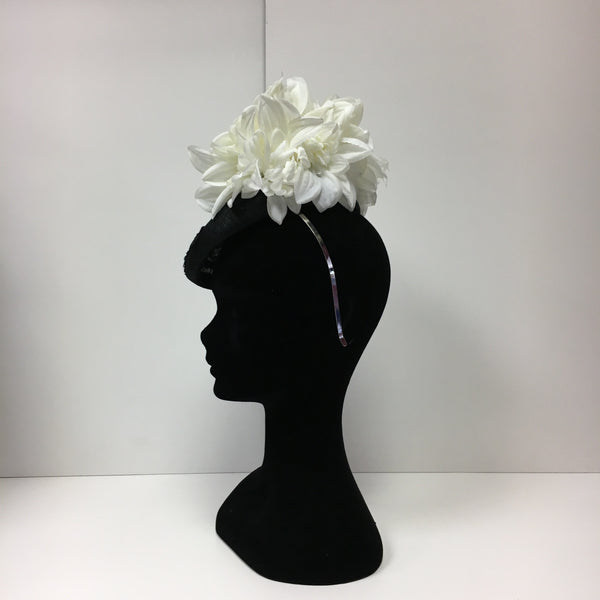 black and ivory headpiece, white, black, disc, hat, fascinator, flowers, butterflies