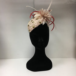 pink hat, metalic pink hat, pink feathers, dark pink hat, red, beautiful fascinator