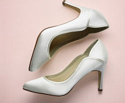 Rainbow Club Shoes, LUCY, Satin Court Shoes, Ivory