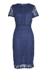 Marc Angelo Lace Overlay Dress, Navy