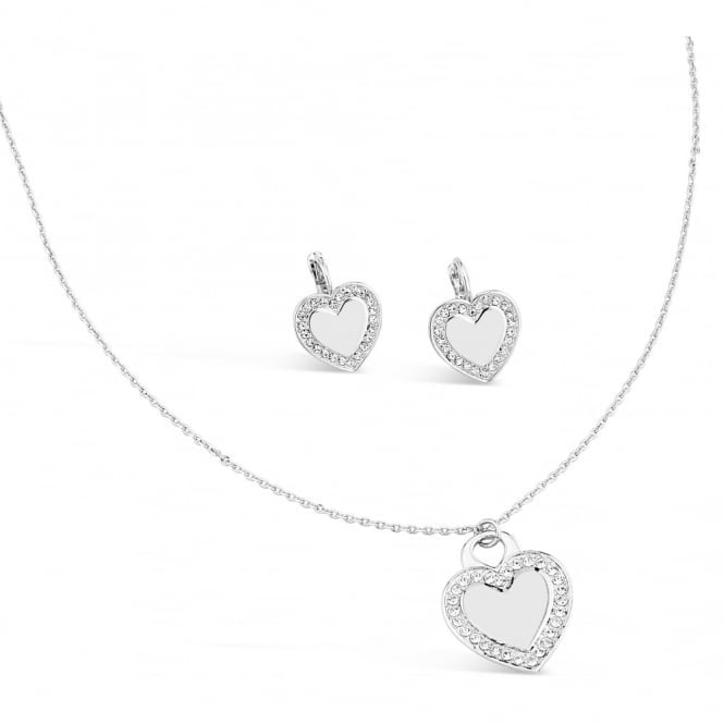 Park Lane Silver Plated Heart Necklace & Earing Set with Crystal Stones