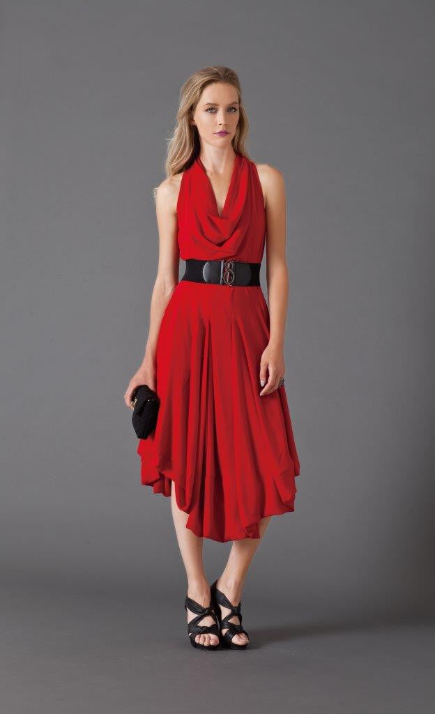 Samuel Dong Crepe Bubble Dress with Belt, Red